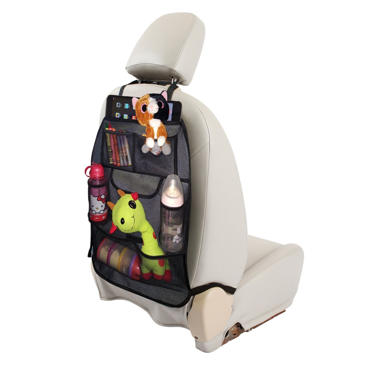 grey denim car seat organizer with free seatbelt cover. Black Bedroom Furniture Sets. Home Design Ideas